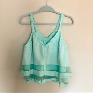 J.O.A. Los Angeles V Neck Ruffle Tank Mint Green